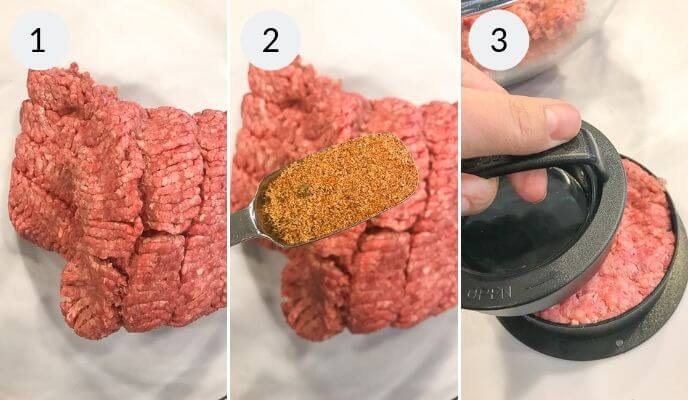 Step by step instructions for making homemade burger recipe, Step 1: Ground Beef, Step 2: Ground Beef with seasoing being added, Step 3: Shaping the burger.