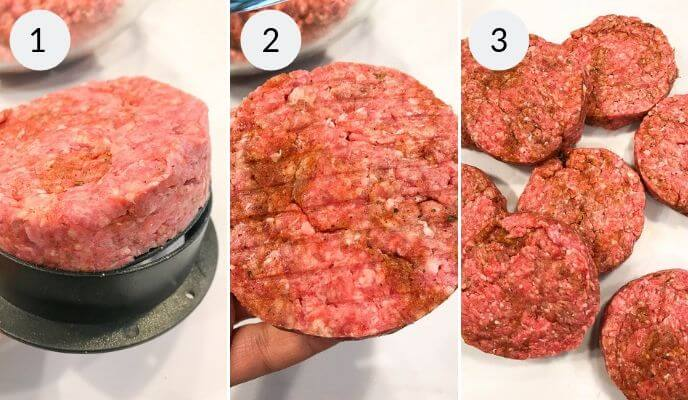 Step by step instructions for making homemade burger recipe, Step 1: Beef Patty formed, Step 2: Beef Patty, Step 3: A group of beef patties