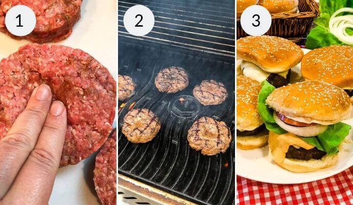 Step by step instructions for making homemade burger recipe, Step 1: Shaping the beef patty, Step 2: Beef Patties on the grill, Step 3: Onion, Lettuce, and Tomato burgers