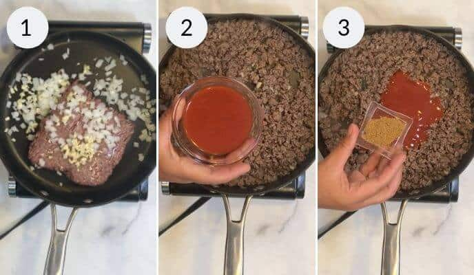 step by step instructions for making beef taco tarts