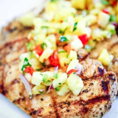 Grilled Chicken with Pineapple Salsa on white plate