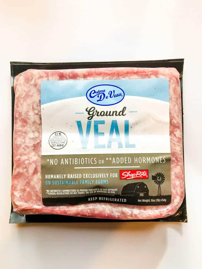 Package of ground veal for veal recipes