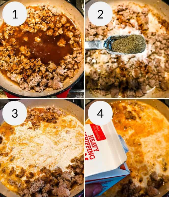 Step by step instruction for making veal cheeseburger macaroni