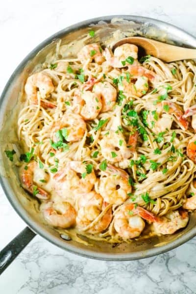 shrimp alfredo recipe in a skillet