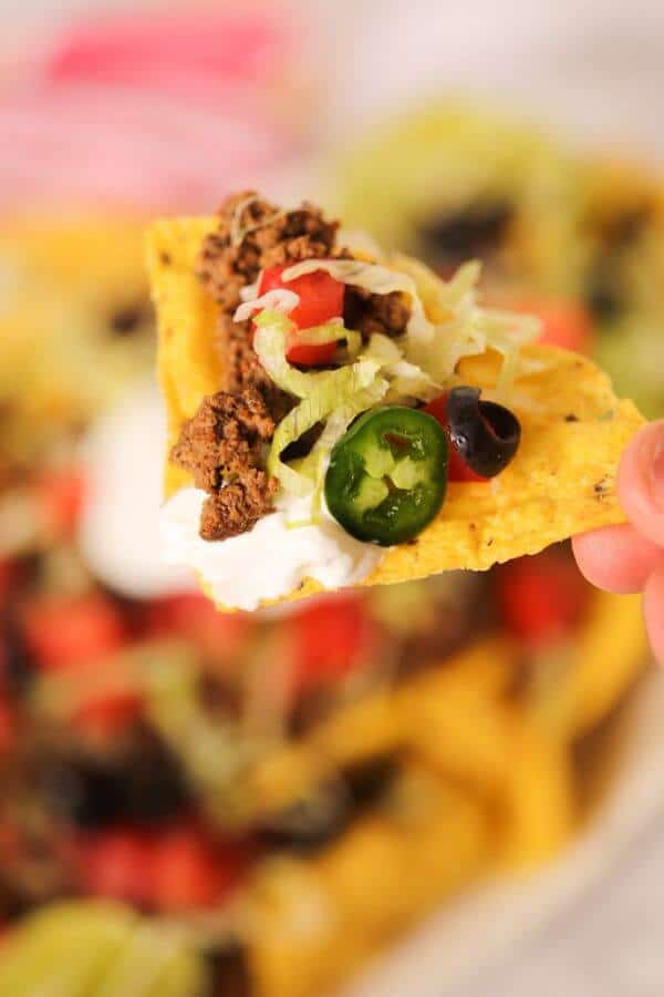close up of a beef nacho