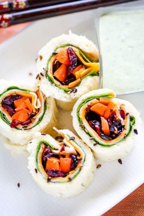 Chicken and Cheddar Sandwich Sushi
