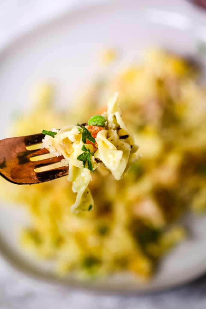 Chicken Casserole on a fork