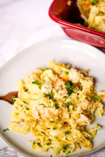 Creamy Chicken Pasta Casserole in a white plate