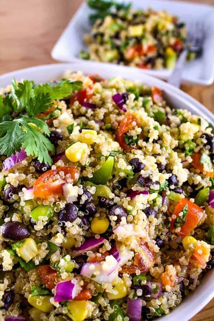 Closeup bowl of southwest quinoa salad
