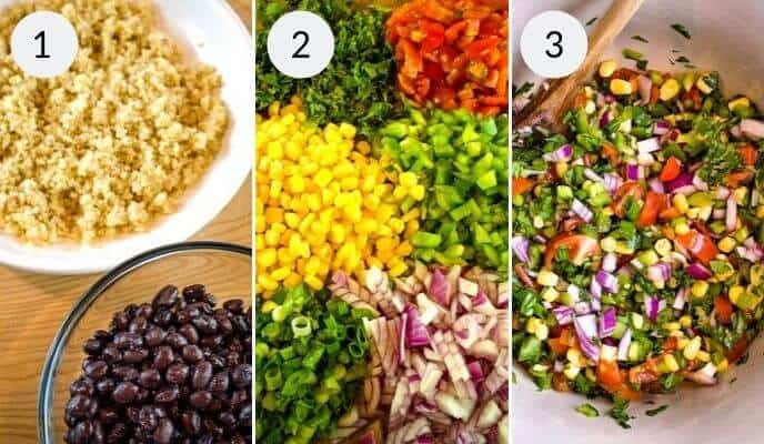 1st 3 steps in quinoa salad