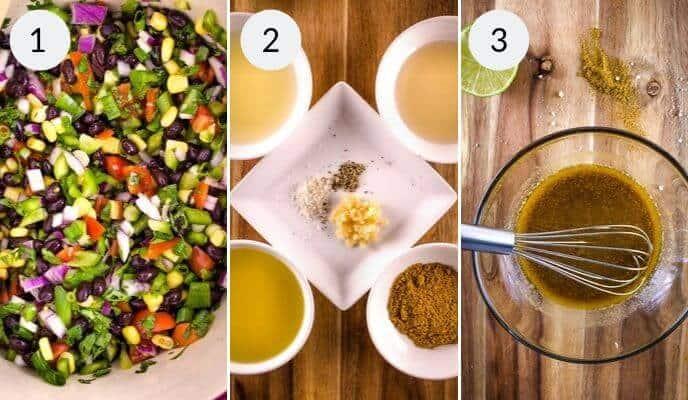 final 3 steps to prepare quinoa salad