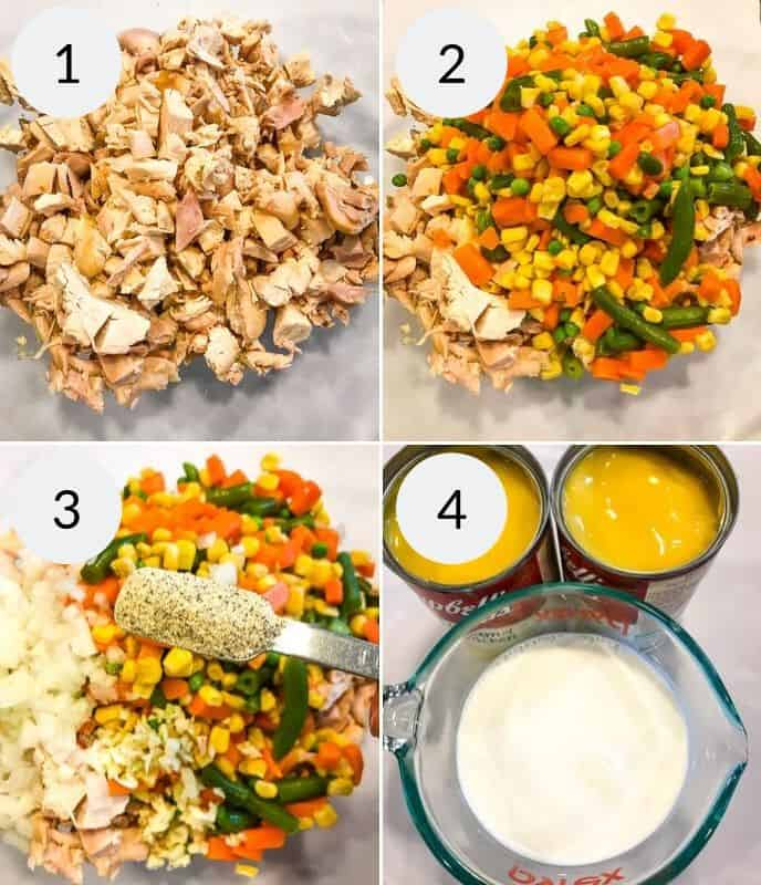 first 4 steps of preperation for my creamy chicken pasta casserole