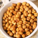 White bowl with Roasted Chickpeas