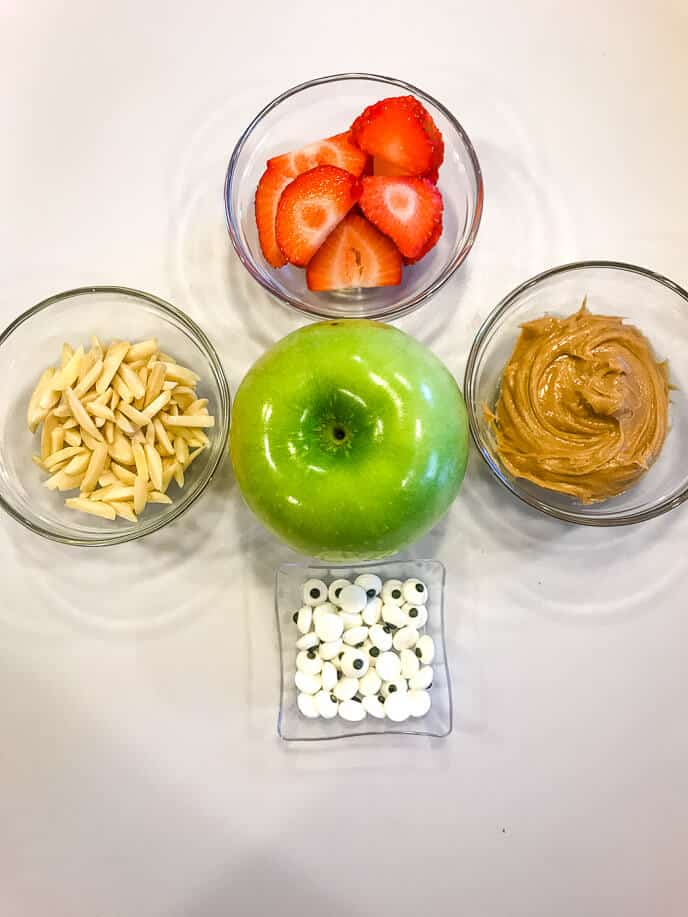 ingredients for making apple monster halloween snacks