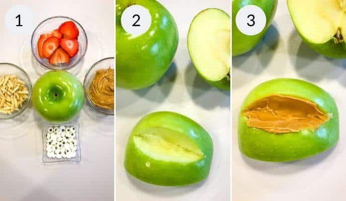 step by step instructions for making apple monster halloween snacks