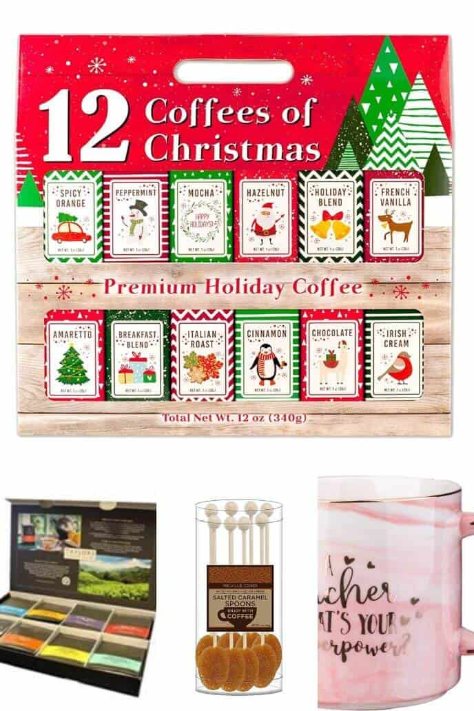Collection of Teacher Christmas gifts for coffee lovers