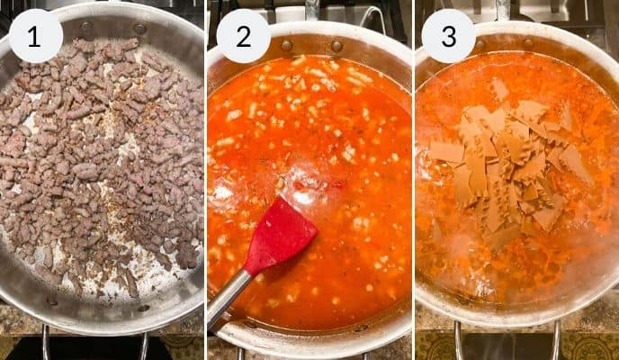 Step by step instructions for making skillet lasagna