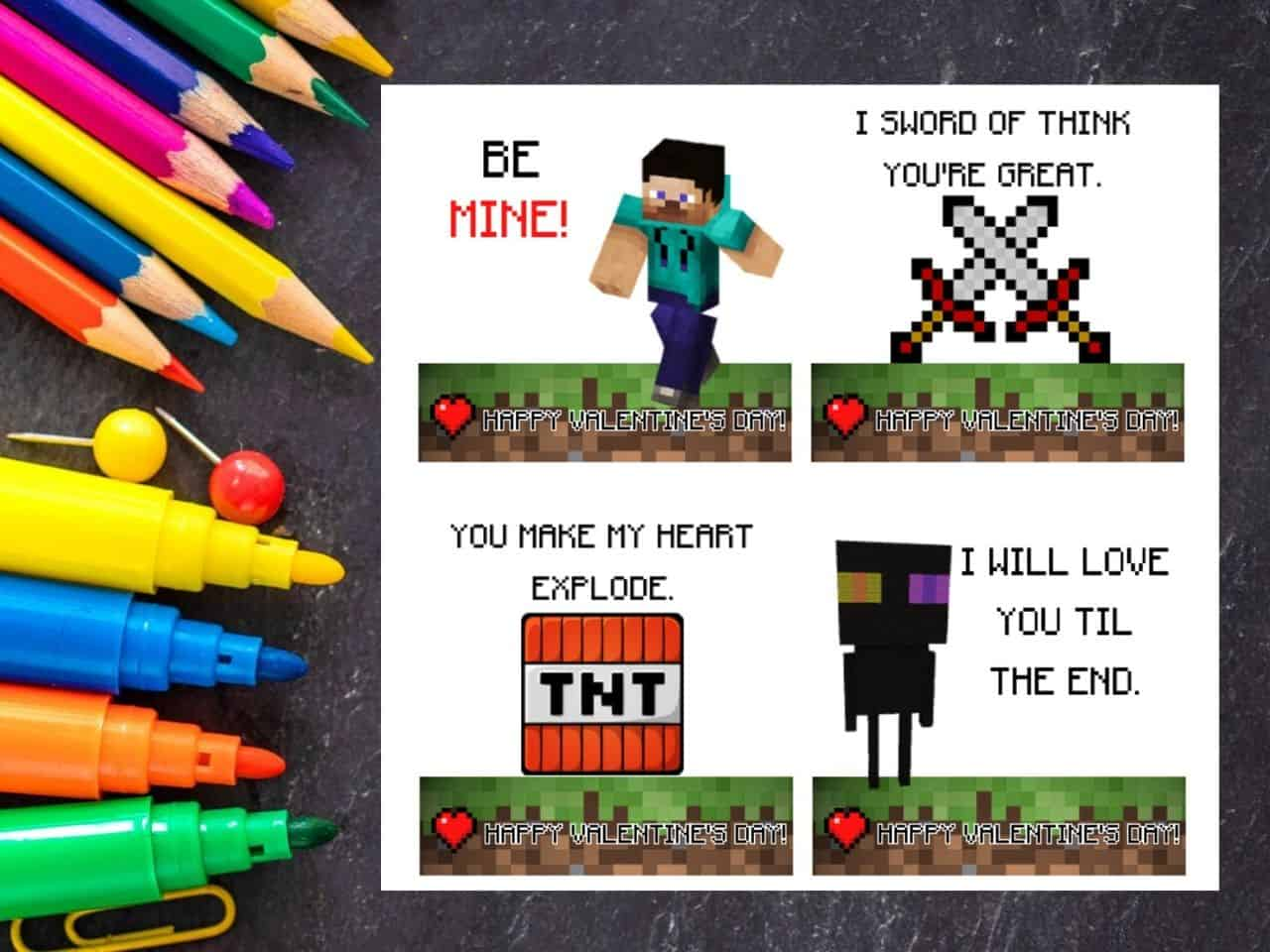 Minecraft Valentines printables on a dark background with markers