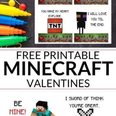 Minecraft Valentines Printables