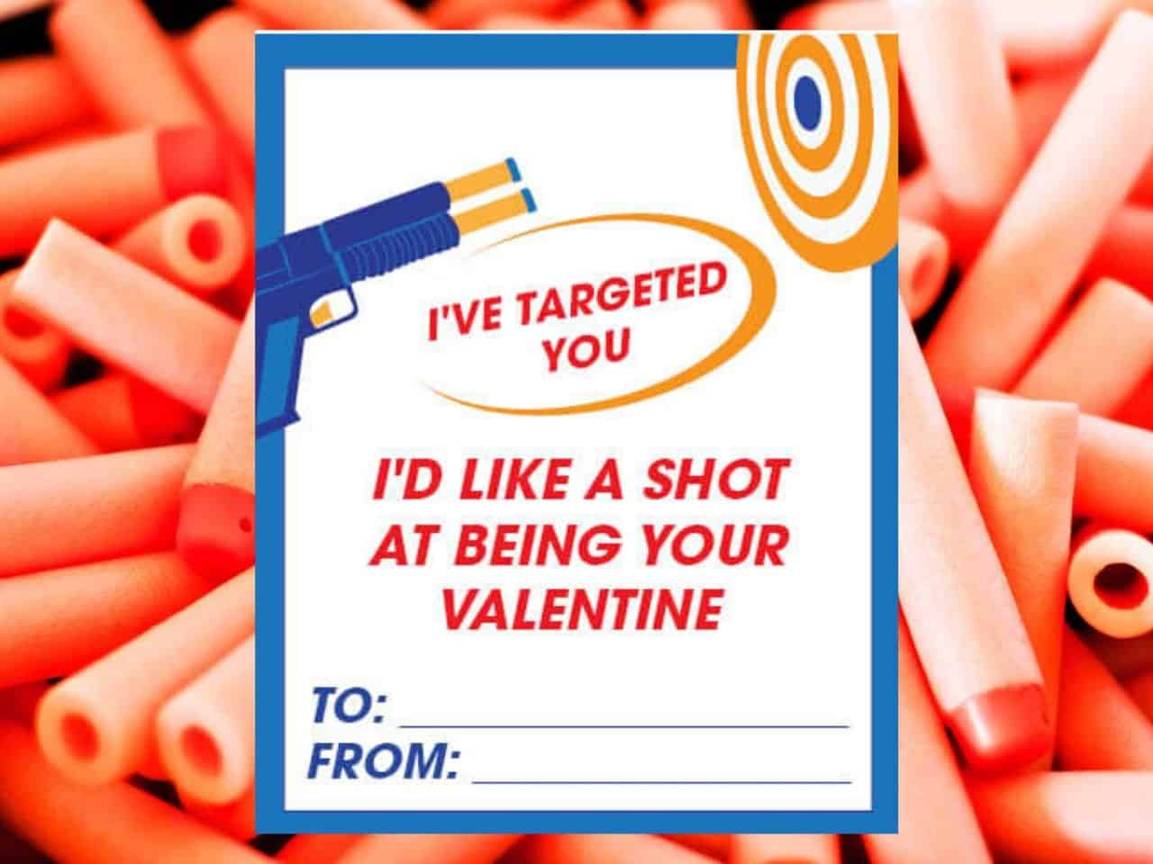 printable nerf valentine card on a bed of nerf darts