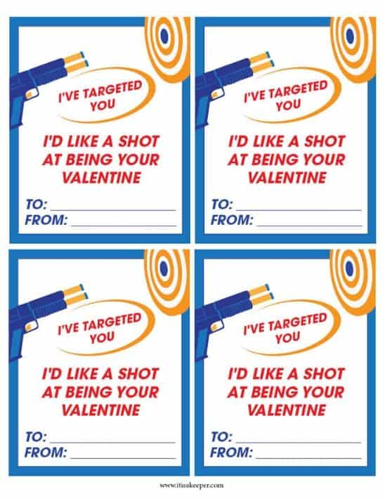 Set of four printable Nerf Valentines