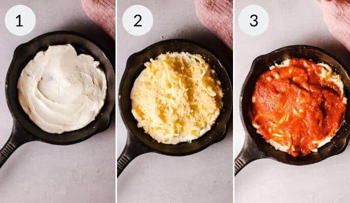 step by step instructions for making Pepperoni Pizza Dip