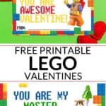 Printable Lego Valentines on green background