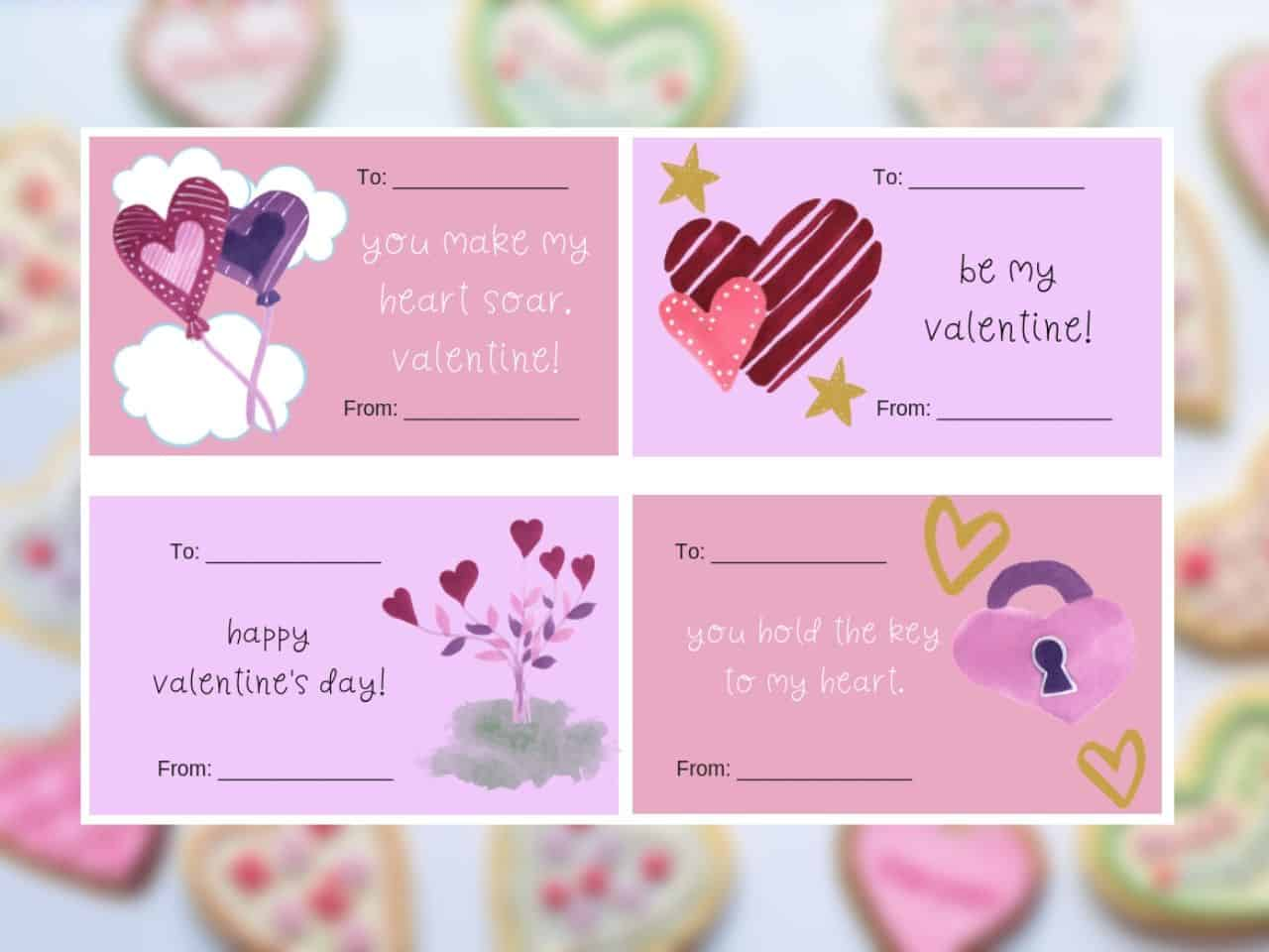 set of 4 printable valentine cards