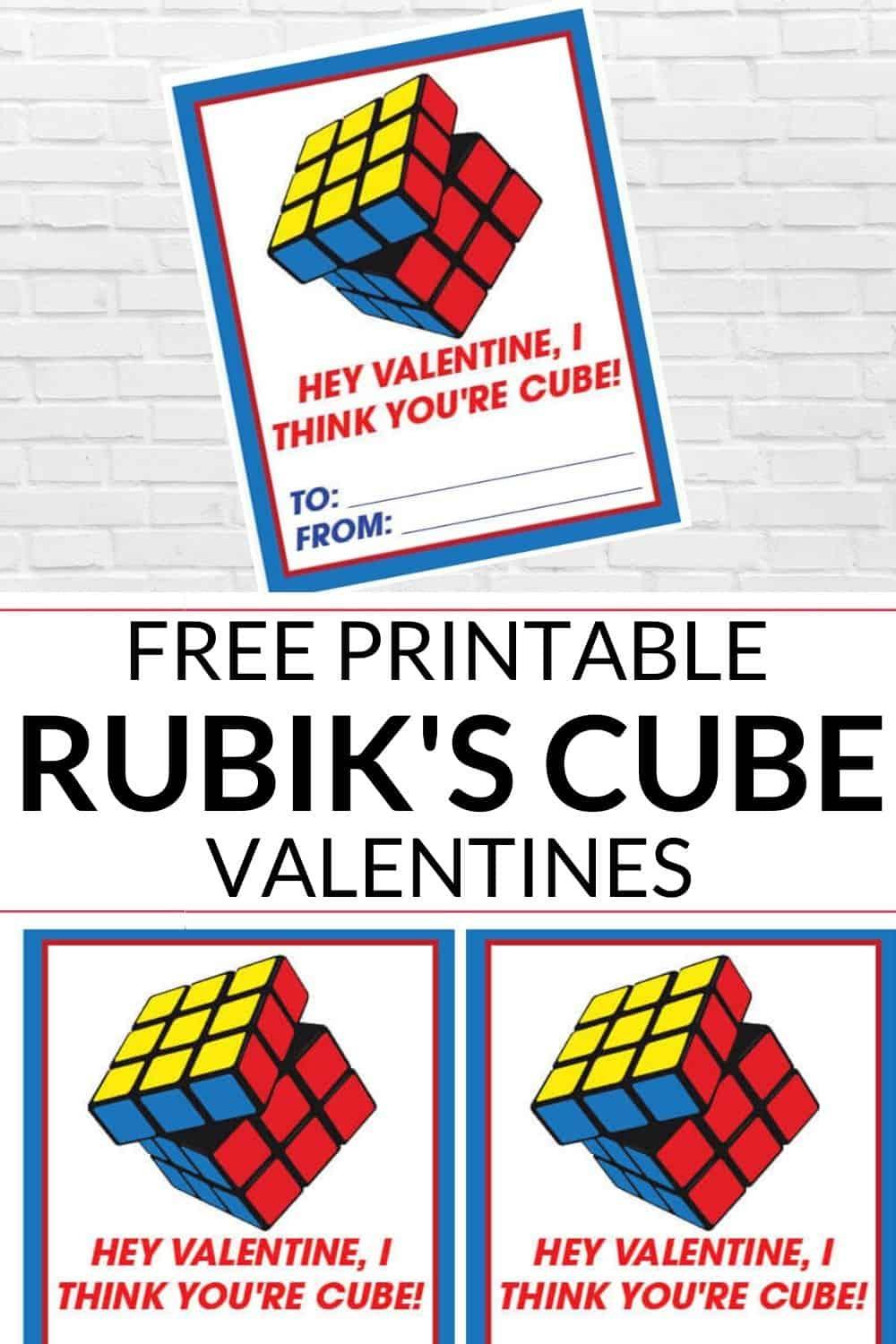 set of 4 Rubik's Cube Valentines Day Card Printable