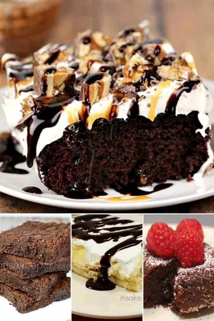 Collection of chocolate valentine desserts