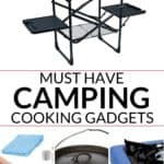 collection of must have camping cooking gear