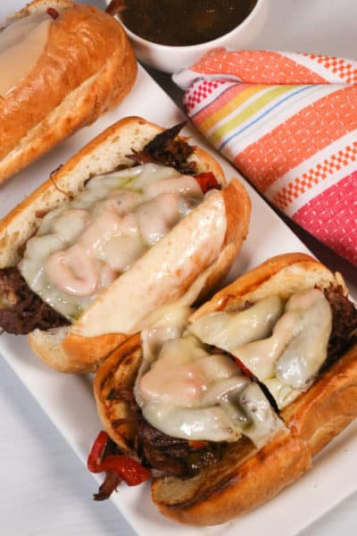 mississippi pot roast sandwiches on a white plate