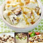 an assortment of snicker salad and snicker apple salad that are delicious