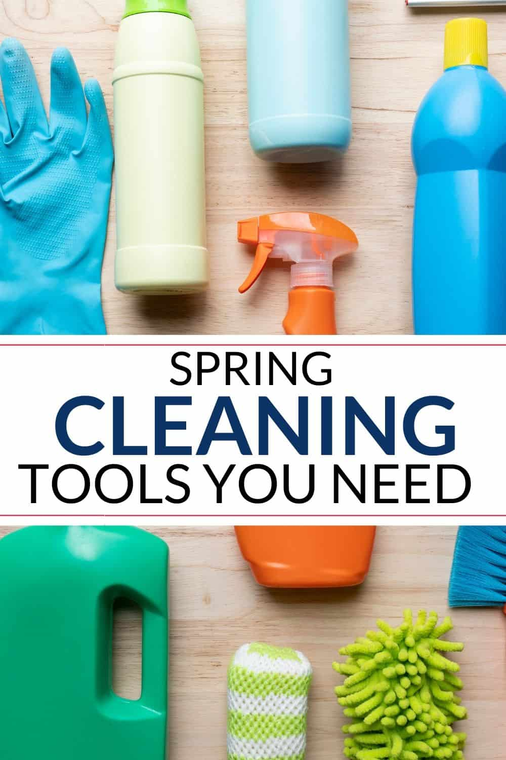 Collection of spring cleaning supplies list