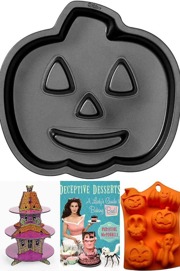 Collage of 4 images of Halloween baking accessories listed in the post