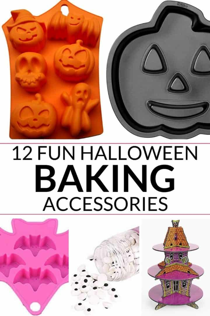 Collage of 5 images of Halloween baking accessories with the title of the post in the center