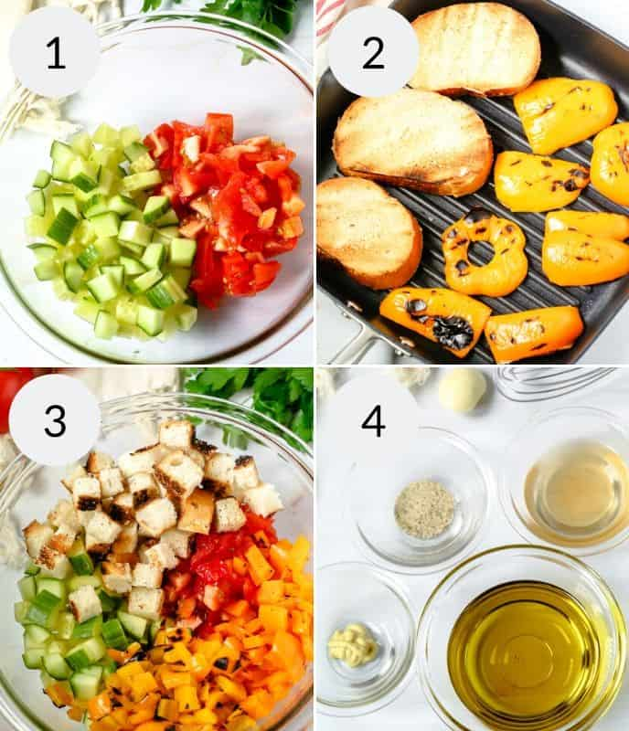 Step by step instructions for making Grilled Panzanella Salad