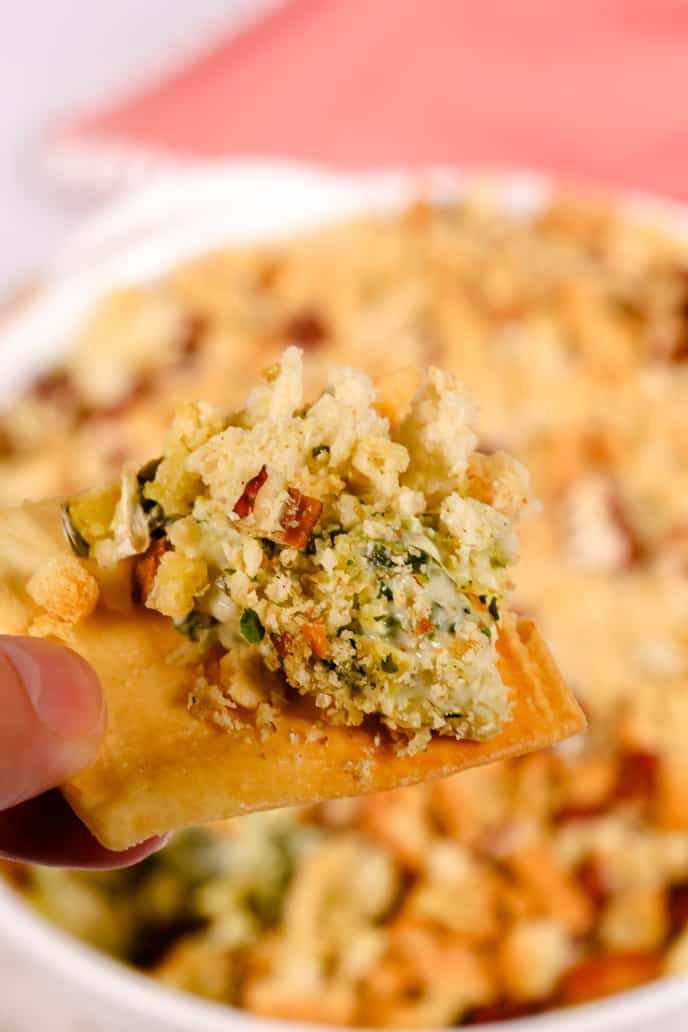 Easy spinach artichoke dip on a pita chip
