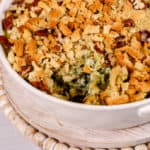 Easy spinach artichoke dip in a white dish