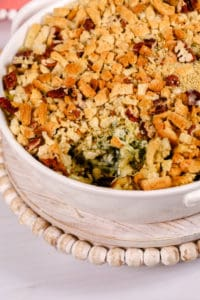 Easy spinach artichoke dip in a white dish