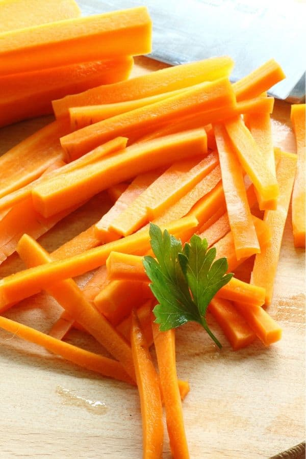 Matchstick carrots for Garlic Oven Roasted Carrots