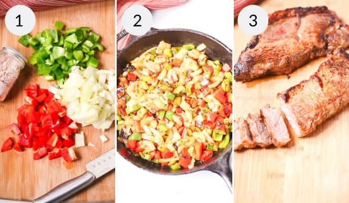 Step by step process for making steak fajita recipe