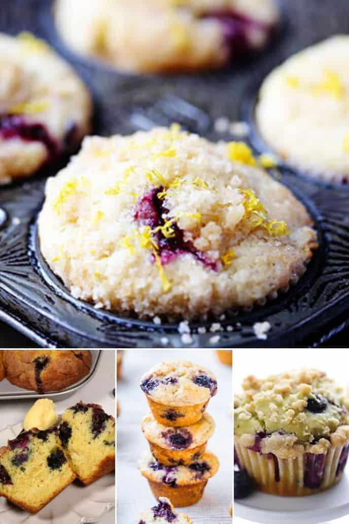 a group of delicious blueberry muffins recipe including blueberry lemon muffins