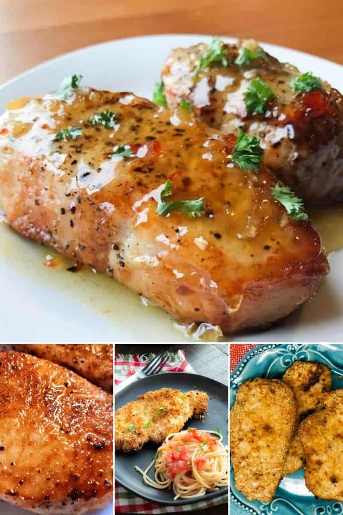 a group of images of different air fryer boneless pork chops