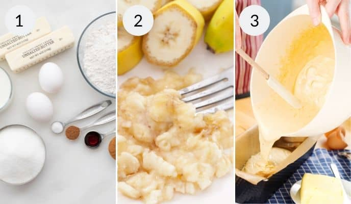 Steps for making banana bread. Ingredients, mashed bananas and batter into loaf pans
