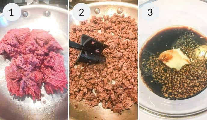 First 3 steps to make beef bulgogi. beef in a pan chopping and preparing sauce