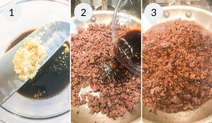 3 steps in making the finishing the bulgogi bowl. adding marinade to skillet and cooking