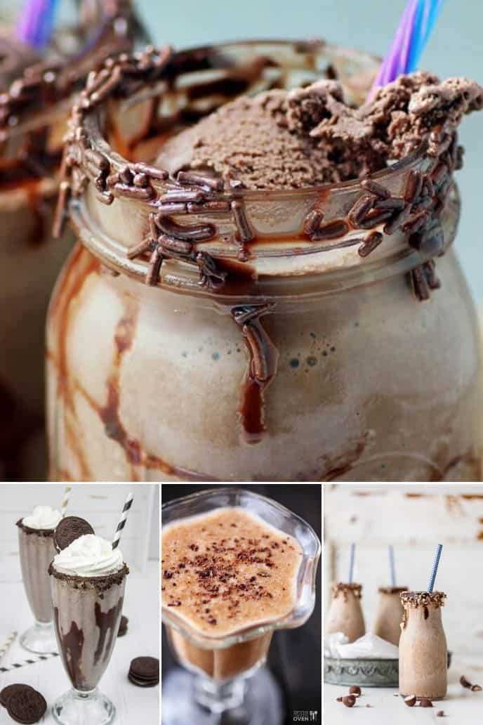 A collection of recipes showing how to make a chocolate milkshake