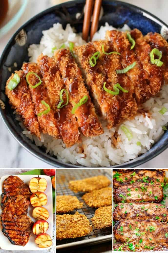 a group of images of different pork chops converted for the air fryer