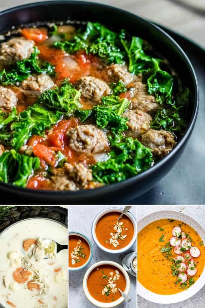 a group of amazing instant pot low carb recipes with delicious soup recipes